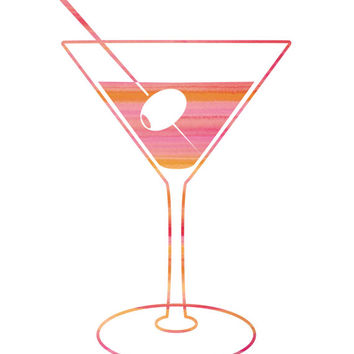 Fun Pink Cocktail Print / Bar Decor / Martini Print / Cocktail Wall Art / Bar Print / Bar Art / Pink Watercolor Print / Up to 13x19