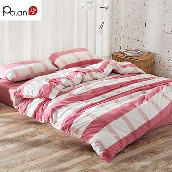 Cotton Bedding Set. Plaid Duvet Cover Sets. Soft