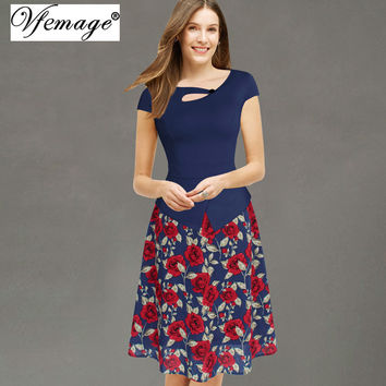 Vfemage Womens 2016 Floral Print Patchwork Button Cap Sleeve Casual Party Work Bodycon Skater A-Line Summer office Dress 3155