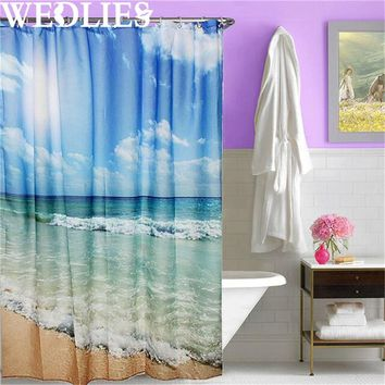 Polyester Sea Beach Waterproof Shower Curtain Shower Bath Screen Cover Sheer Fabric Home Bathroom Decorative Textiles