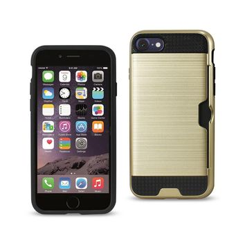 New Slim Armor Hybrid Case With Card Holder In Gold For iPhone 7