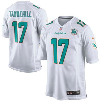 Men's Miami Dolphins Ryan Tannehill Nike White Game 2015 NFL Patch Jersey
