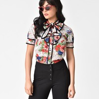 Paisley & Floral Print Short Sleeve Button Up Ruffled Blouse