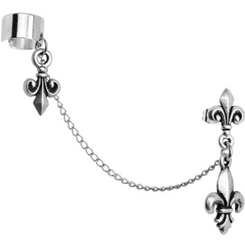 Handcrafted Fleur de Lis Ear Cuff Chain Earring | Body Candy Body Jewelry