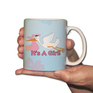 It's a Girl stork - Coffee Mug