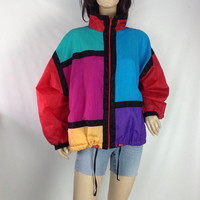 80s Mondrian Jacket Colorblock Wind Breaker Modernist Art Print Unisex Oversized Windbreaker  Mondrian Pattern s m l small medium large