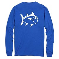 Long Sleeve Outlined Skipjack Tee in Cobalt Blue by Southern Tide