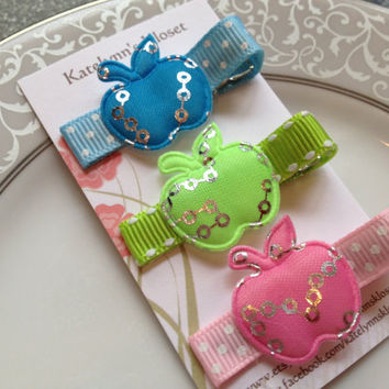 Back to School- Apple Clip Set of 3 -Toddler Hair Bows- Baby Hair Bows- Pink Green Blue
