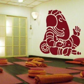 ik482 Wall Decal Sticker Room Decor Wall Art Mural Indian god Ganesha Om Elephant Hindu welfare bedroom living room meditation Yoga