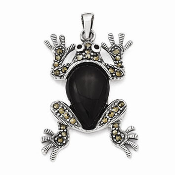 Sterling Silver Marcasite & Onyx Frog Pendant