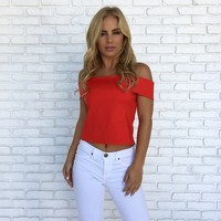 Kona Off Shoulder Top In Red