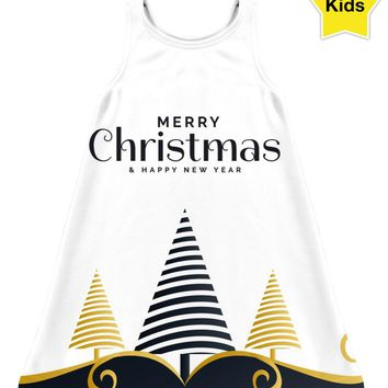 ROCD Merry Christmas Black And Gold Children's Dress
