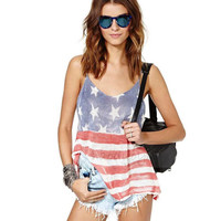 American Flag Printed Sleeveless T-Shirt
