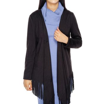 Autumn Suede Fringe Cardigan - Black