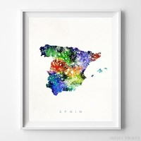 Spain Watercolor Map Wall Art Home Decor Poster Artwork Gift Print UNFRAMED by Inkist Prints