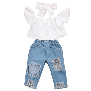 Toddler Girls Kids Clothes Sets Off Shoulder Tops Short Sleeve Denim Pants Jeans Headbands 3pcs Outfits Set Clothing