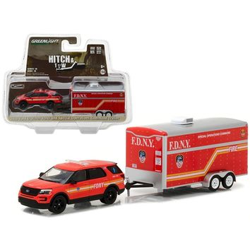 2016 Ford Explorer Official Fire Department NYC (FDNY) and Special Operations Command Trailer Hitch & Tow Series 10 1-64 Diecast Model Car  by Greenlight