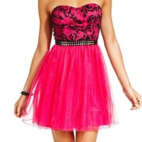 Ruby Rox Juniors Dress, Strapless Lace Belted Tulle - Juniors Dresses - Macy's