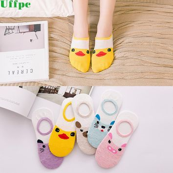 5pairs/lot Summer invisible sock woman Cotton duck Bear dogs cat pig Sock girl Slippers breathable cool socks non-slip