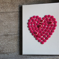 Pretty Pink Love Button Heart on Canvas Wall Hanging Decor