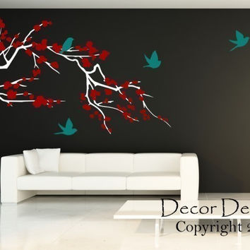 Huge Birds Around The Cherry Blossom Branch  3 Colors Vinyl Wall Decal Sticker