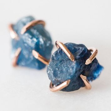 Raw blue sapphire gemstone stud earrings * I Am Journeying * sterling silver / rose gold / filled spiritual rough gemstones crystals
