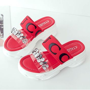 GUCCI Tide brand women's thick-bottomed rhinestone word transparent sponge cake sandals Red