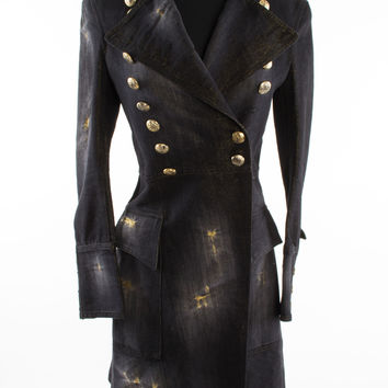 Double-Breasted Military Coat with Gold Sheen size:S