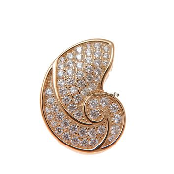 ROSE GOLD PLATED 925 STERLING SILVER HAWAIIAN NAUTILUS SHELL PENDANT CZ 15MM