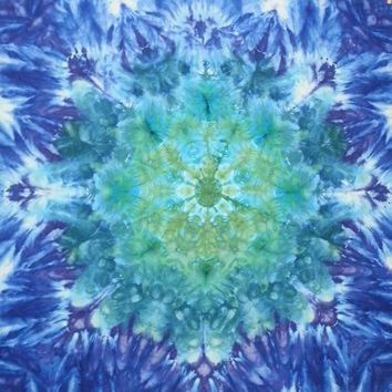 trippy tie dye tapestry or wall hanging green and blue