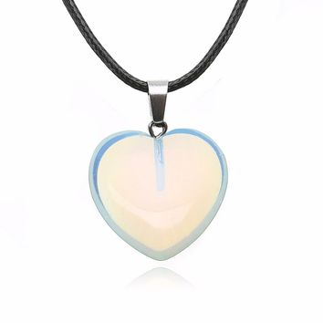 Point Chakra Healing Necklaces & Pendants Charms Heart Shaped Natural Stone Leather Rope Necklace For Women Jewelry Gift
