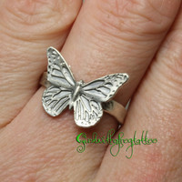 Butterfly Ring Fine Silver Miniature Butterfly Jewelry Size 7 1/2 Size 7.5 297