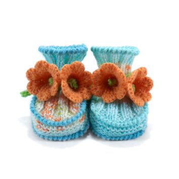 Baby Booties Hand Knitted with Crochet Yellow Bell Flowers - Blue and Orange, 0 - 6 months