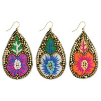 Embroidered Flower Teardrop Earrings