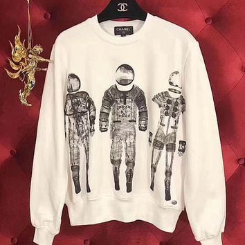 One-nice™ '' Chanel '' Print The astronauts Sweater Pullover Sweatshirt
