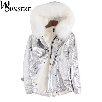 Metal Golden Silver Bright Jacket Coat Women New Winter Warm Fleece Zipper Parkas Bomber Hooded Outwear Fashion Streetwear Parka