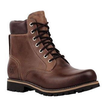 Men's Timberland Earthkeepers Rugged 6in Waterproof Plain Toe Boot Copper Full Grain Leather