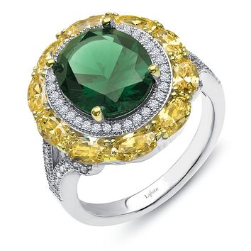 Lafonn Red Carpet Sterling Silver Platinum Plated Lassire Canary, Emerald Ring (7.6 CTTW)