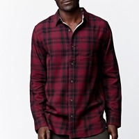 On The Byas Chap Long Sleeve Plaid Button Up Shirt - Mens Shirt - Red