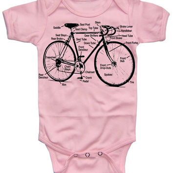 Baby Bike Diagram Retro Bicycle Schematic Girls Light Pink Bodysuit