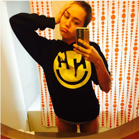 Black Fashion Miley Cyrus Happy Hippie Hooded Sweatshirt Jumper Womens Autumn Hoodie Punk Rock Pullover