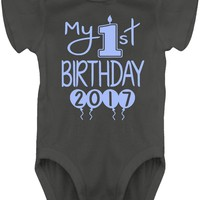 Baby Boy My 1st Birthday Balloon Bodysuits