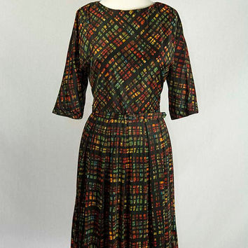Vintage 1960's Novelty Print Day Dress with Matching Belt Stained Glass