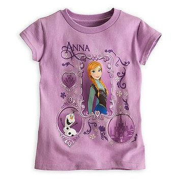Licensed cool Disney Store FROZEN Princess Anna & Olaf Snowman Girls Purple Tee T-Shirt Top