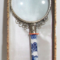 Blue White Porcelain Magnifying Glass Asian Inspired Ornate Floral Swirling Flowers Home Office