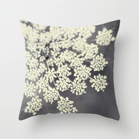 Black and White Queen Annes Lace Throw Pillow by Erin Johnson
