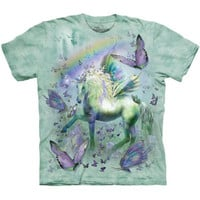 UNICORN AND BUTTERFLIES The Mountain Rainbow Butterfly Fantasy T-Shirt S-3XL NEW
