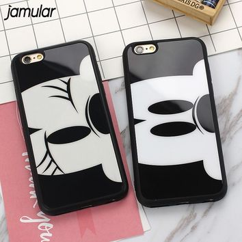 JAMULAR Minnie Mickey Mouse Soft Silicone Case for iPhone 6 6s 7 Plus 5s SE Phone Cover For iPhone 7 6s 8 Plus X Cases Shell
