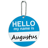 Augustus Hello My Name Is Round ID Card Luggage Tag