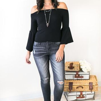 Gotta be Something Good Ruffle Sleeve Top in Black